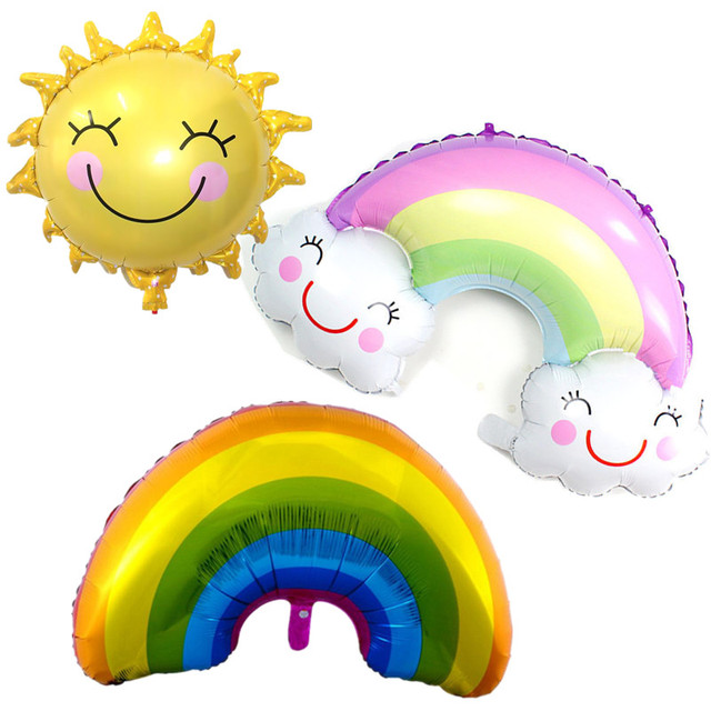 Large Rainbow Smile Sun Design Foil Balloons for Kids Birthday Summer Party Baby Shower Wedding Decoration Helium Air Balloons