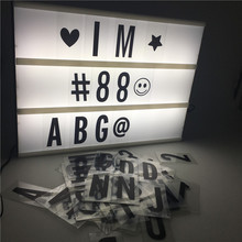 A4 Cinema Lightbox Novelty Table Lamp For Home Party Holiday DIY Decoration Led With 90PCS Black Letters By AA Battery USB Power