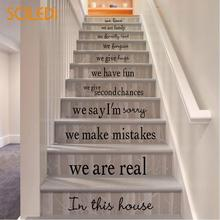 Mural Art Staircase Sticker Stair Decals Sticker Stair Riser Stickers We  Are Family PVC Black 54