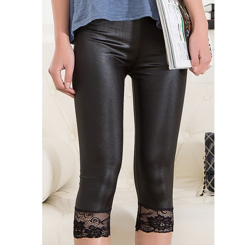6ffd990839fd7 Detail Feedback Questions about lady summer short leggings women lace short  capris black white fake leather knee length legging on Aliexpress.com |  alibaba ...