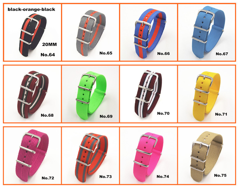 Купить с кэшбэком Hot !  Wholesale 10pcs/lot High quality 20MM Nylon Watch band NATO waterproof watch strap fashion wach band - 81 color available