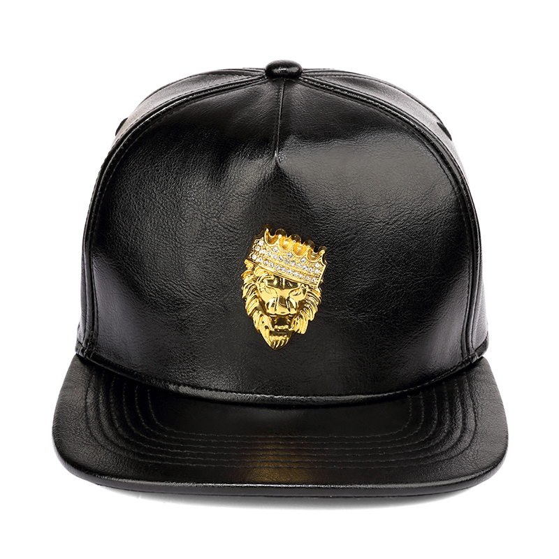 NYUK Mens Luxury Adjustable PU Leather Gold Rhinestone Crown Lion Head Baseball Caps Black Snapback Hats Men Women Hip Hop Cap