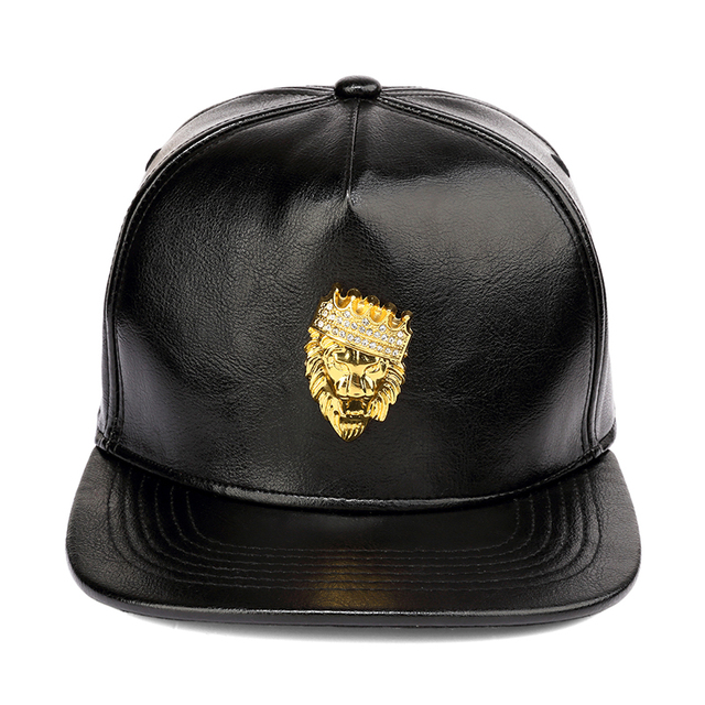 0e6590618c517 NYUK Mens Luxury Adjustable PU Leather Gold Rhinestone Crown Lion Head  Baseball Caps Black Snapback Hats Men Women Hip Hop Cap