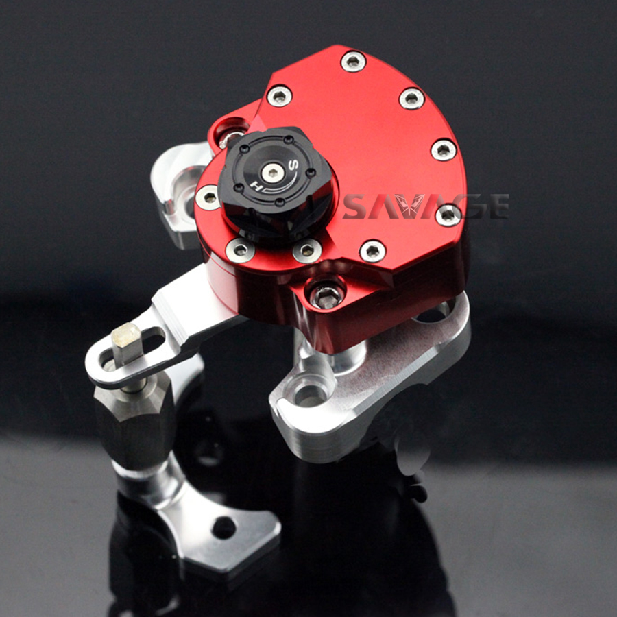 For DUCATI MONSTER 1100 EVO 2011 2012 2013 Red Motorcycle Adjustable Steering Damper Stabilizer with Mount Bracket