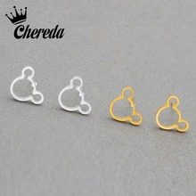 Chereda Trendy Minimalist Stainless Steel Hollow Mickey Earrings Cute Stud Pet Lover Earring for Women Party Gift