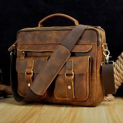 Le'aokuu Men Real Leather Antique Style Coffee Briefcase Business 13 Laptop Cases Attache Messenger Bags Portfolio B207-d