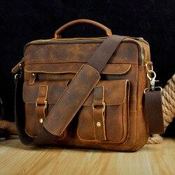 Le'aokuu hommes en cuir véritable Style Antique porte-documents d'affaires 13 étuis pour ordinateur portable Attache sacs de messager portefeuille B207-d