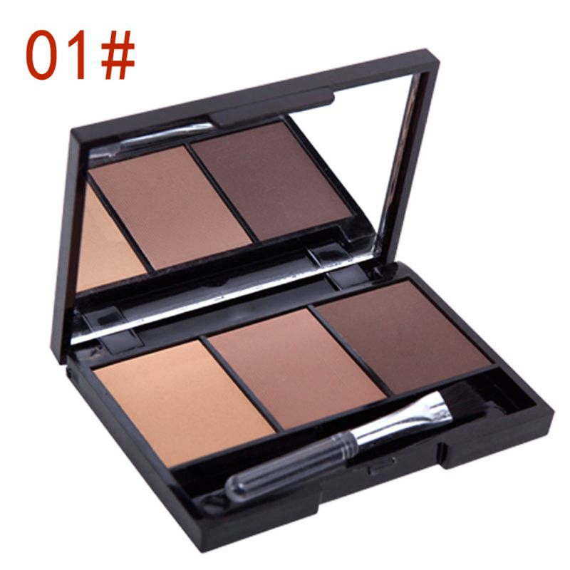 Professional Kit 3 Colour EYEBROW Powder/Shadow Palette Enhancer w/ Ended brush