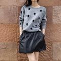 Estrellas Suéter de Cachemira Que Basa La Camisa de Manga Cabeza Engrosada Suéter de Cachemira de Punto de lana