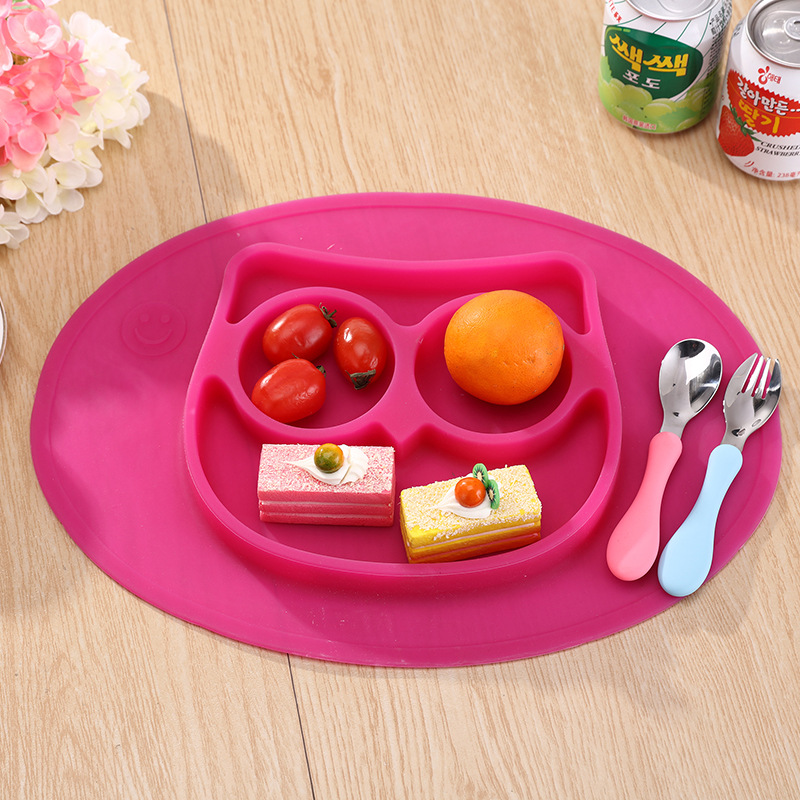 Baby Placemat Owl Monkeys Elephants Silicone Suction Feeding Plate for Children Kids Toddlers Kitchen Dining Table Restaurant