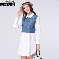 Oversize Cotton 100 Plus Size Women Blouse Spring New Women Shirt Button Butterfly Denim Patchwork Long