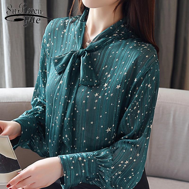 1782e9fd56 2019 nueva primavera moda mariposa nudo chifón blusa de mujer de manga  larga inferior gasa señora ropa camisas completas 1815 50