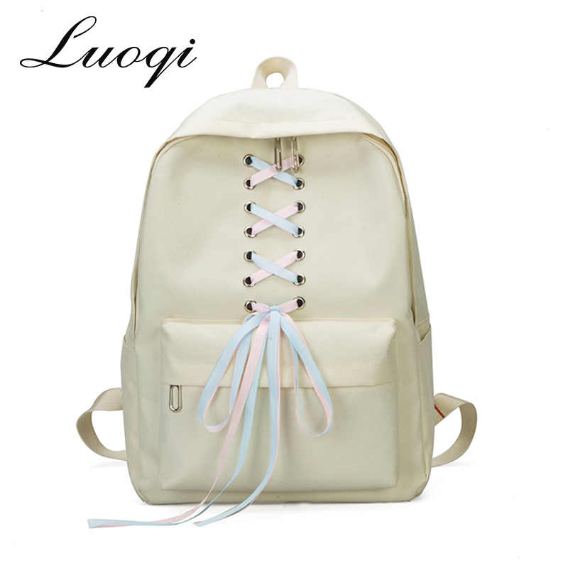 f60007c0a1ee Luoqi бренд Для женщин рюкзак ленты школьные сумки для девочек-подростков  Водонепроницаемый Колледж студент рюкзак