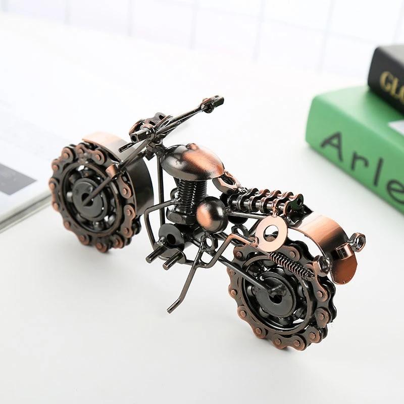 21cm motosiklet modeli retro motorlu bronz el yapimi motor metal dekorasyon prop eski ev dekor cocuk oyuncak heykelcik demir erkek hediye
