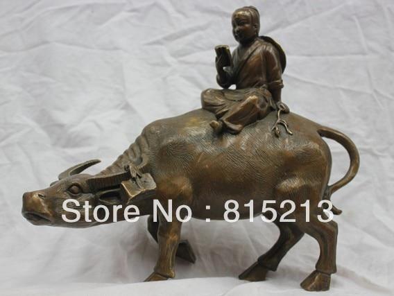 12 chine Folk Bronze Berger Monter Taureau BOEUF Buffalo Lecture Livre Statue12 chine Folk Bronze Berger Monter Taureau BOEUF Buffalo Lecture Livre Statue