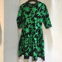 По колено платье Для женщин осень o образным вырезом платье с средним рукавом 2018 Повседневное зеленый платье с принтом
