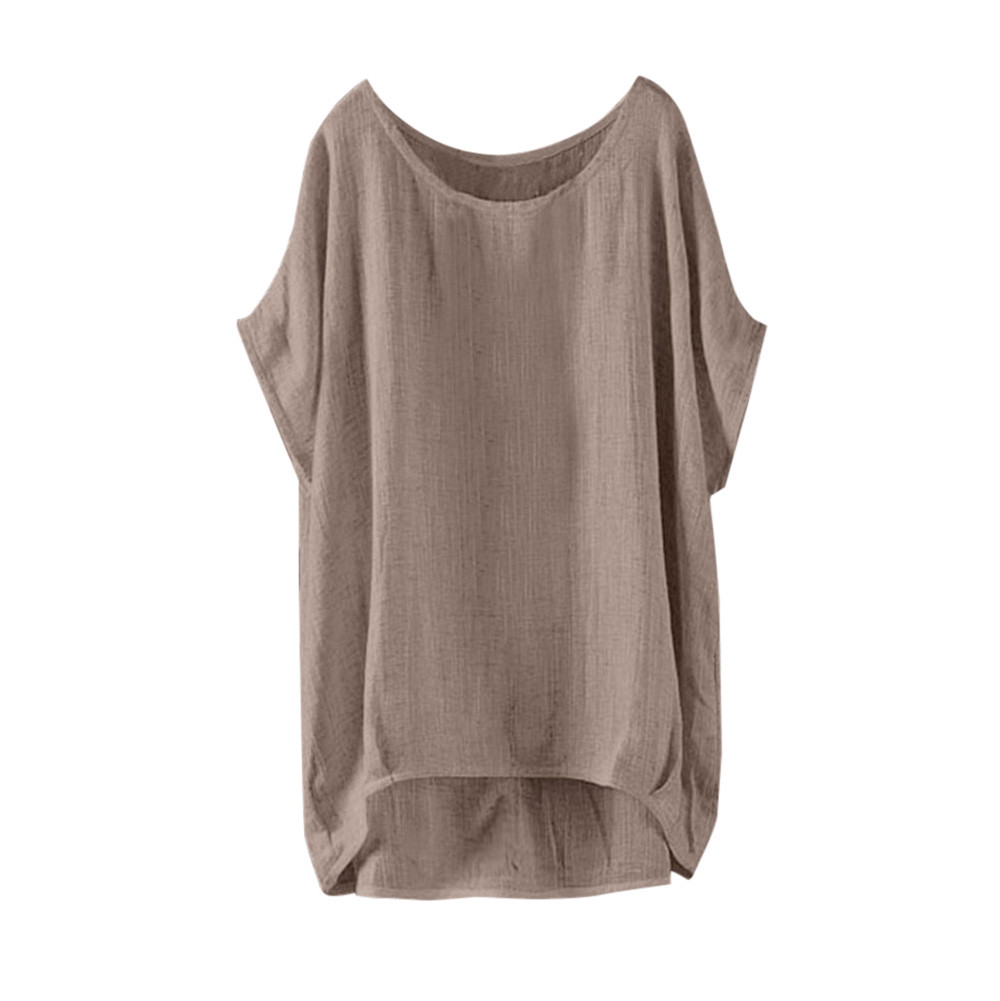 Woman Summer Fashion Shirts O Neck Loose Girls Solid Blouse Casual Summer New Short Sleeve Blouses