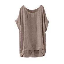 Женские летние модные рубашки с круглым вырезом, свободная однотонная блузка для девочек, повседневные летние новые блузки с короткими рукавами, Топ 2019 # YL5