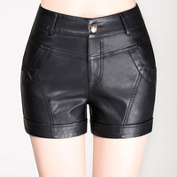 very high quality leather Shorts women 2018 spring sexy high waist black shorts plus size 4XL short trousers women winter shorts