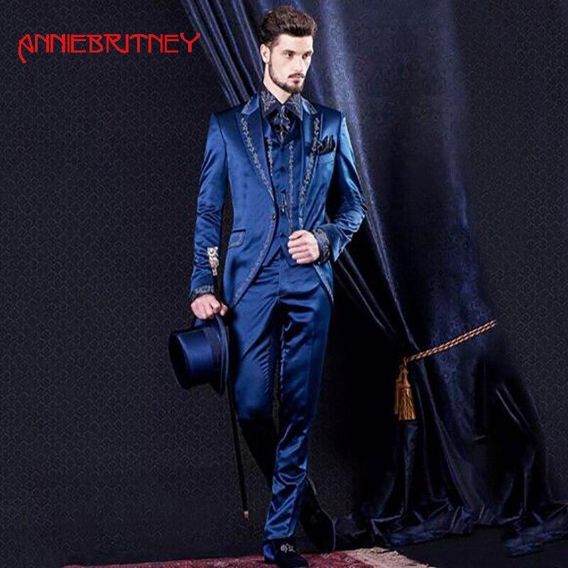 1.1.1Italian Royal Blue Embroidery Satin Men 12Suit