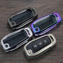 Откидной складной чехол для дистанционного ключа от машины Авто защитный ключ крышка кожа оболочка для Ford Escort Mondeo Everest Ranger, Fusion автомобильный Стайлинг