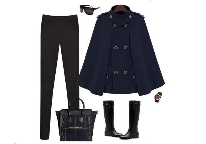 Женское двубортное пальто с рукавами летучая мышь, шерстяное пончо, плащ, верхняя одежда - Цвет: dark blue