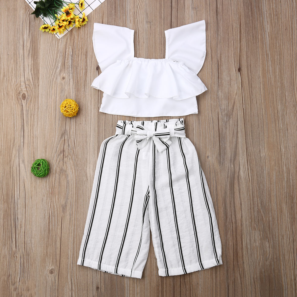 Pudcoco Summer Toddler Baby Girl Clothes Fly Sleeve Ruffle Crop Tops Striped Long Pants 2Pcs Outfits Casual Clothes Summer