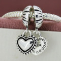Fashion 1 Pair  Love Heart Sister Heart Silver Plated Bead Pendant Charms Fit Pandora Charm Bracelet Necklace YW30053