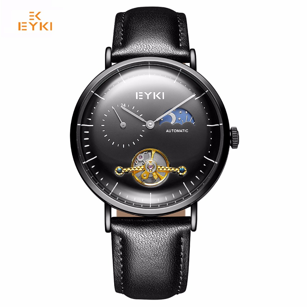 EYKI Brand Men Hollow Flywheel Mechanical Watch Male Classic Black Leather Moon and Star Function Big Dial Business WatchesEYKI Brand Men Hollow Flywheel Mechanical Watch Male Classic Black Leather Moon and Star Function Big Dial Business Watches