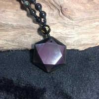Obsidian Stone Pendants Six Angle Pendant Energy Stone Necklace Sweater Chain Fashion Jewelry