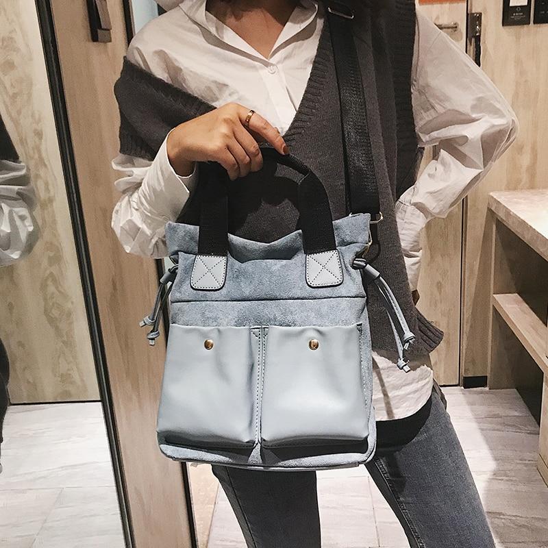 Fashion big bag female 2018 new wave Korean version of the wild single shoulder slung portable personality retro tote bag 35