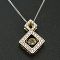 Fine Jewelry Yellow Gold Plated 100% 925 Sterling Silver Dancing CZ Crystal Pendant Necklace for Women Pendant with Chain