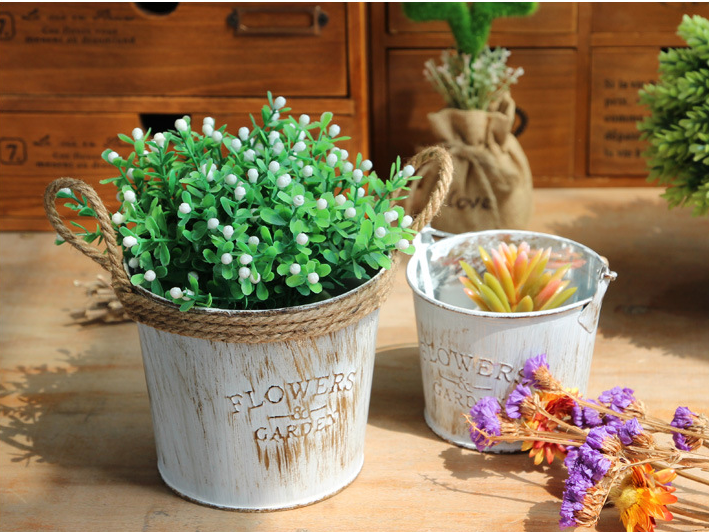 vintage tin flower pots barrels basket artificial pastoral style metal