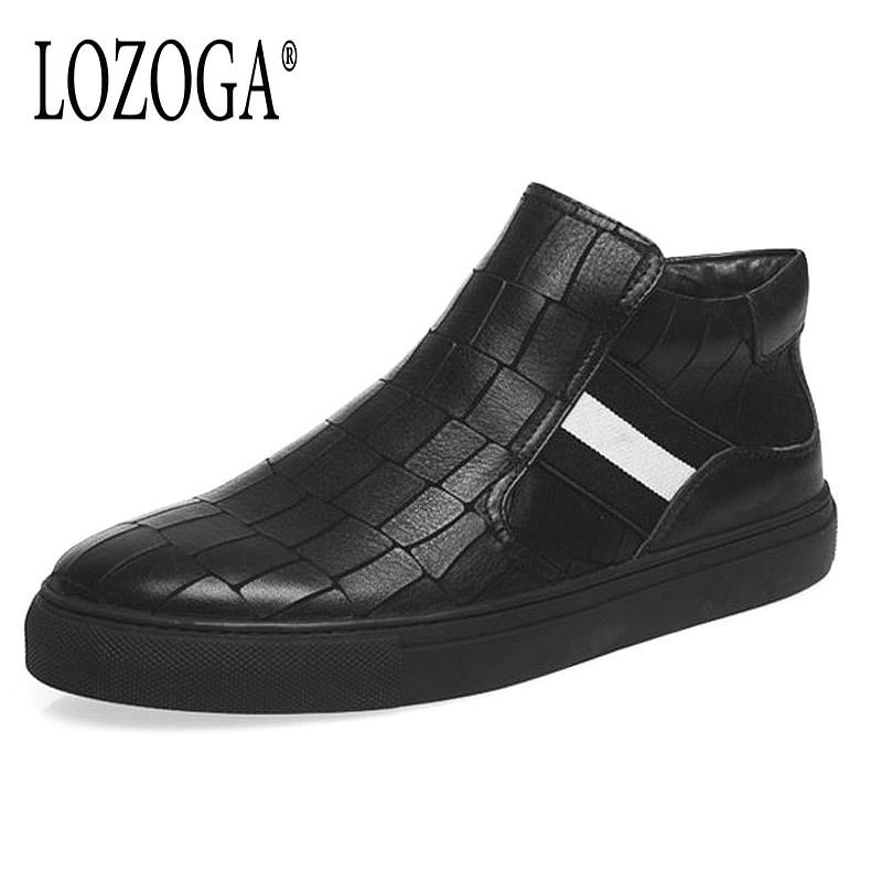 Lozoga New Men's Boots Genuine Leather Black Chelsea Boots Ankle Slip On Fashion Rome Shoes Luxury Designer botas hombre zapatos new fashion men luxury brand casual shoes men non slip breathable genuine leather casual shoes ankle boots zapatos hombre 3s88