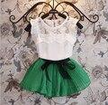 Костюм для девочки из двух предметов (юбка + короткая майка), летняя одежда для детей, новинка 2015