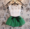 Nuevo set de vestuario para niña 2015 Vestido + blusa corta, conjunto de 2 piezas para en verano, ropa de moda para niñas, ropa infantil tejida