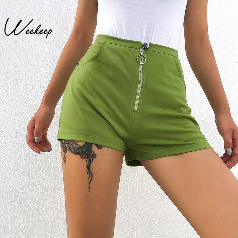Weekeep Sexy Shorts Women High-Waist-Button Femme Summer
