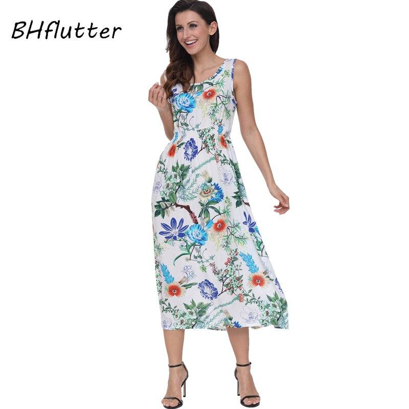 BHflutter 2018 Fashion Women Dress New Style Floral Print Cotton Summer Dress Elastic Waist Sleeveless Beach Boho Casual Dress