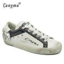 CANGMA ผู้หญิงเพชรรองเท้าคริสตัลสาวรองเท้าผ้าใบสีขาวรองเท้า Breathable Stylish หญิงรองเท้า