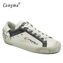 CANGMA  Diamond Woman Casual Shoes Silver Crystal Girl White Sneakers Trainers Shoes Breathable Stylish Female Footwear
