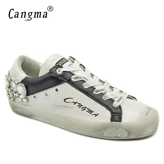Женские повседневные кроссовки CANGMA со стразами, женские белые кроссовки со стразами, стильная женская обувь