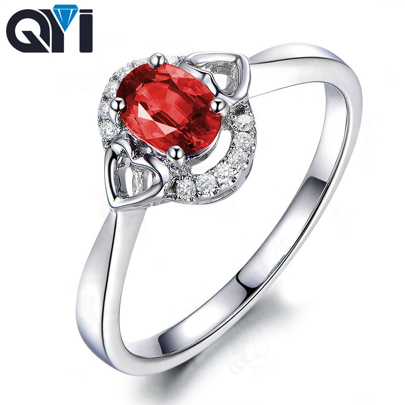 QYI 1.25ct Oval Cut Simulated Ruby Halo Rings 925 Sterling Silver Red Sona Stone Jewelry Women Engagement Wedding Rings