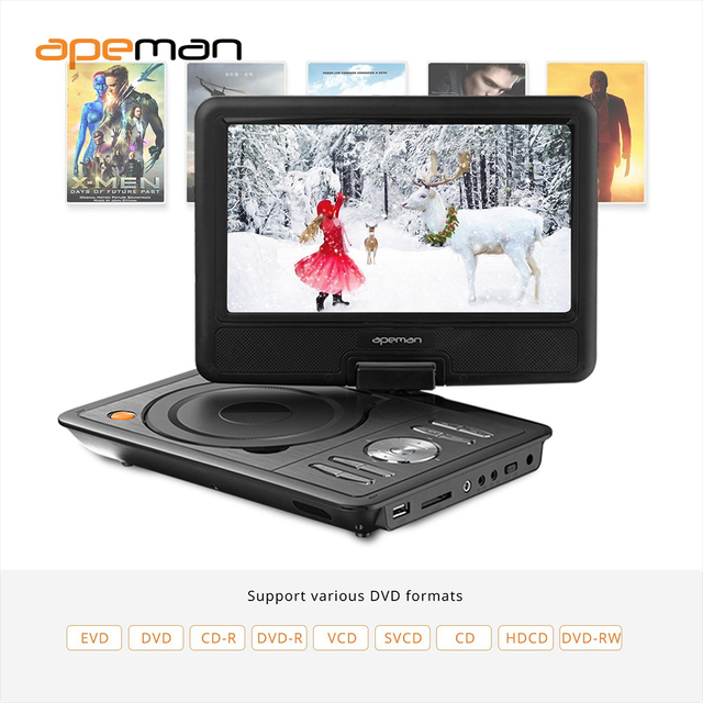 us plug 95 portable dvd player with swivel screen built in battery car charger