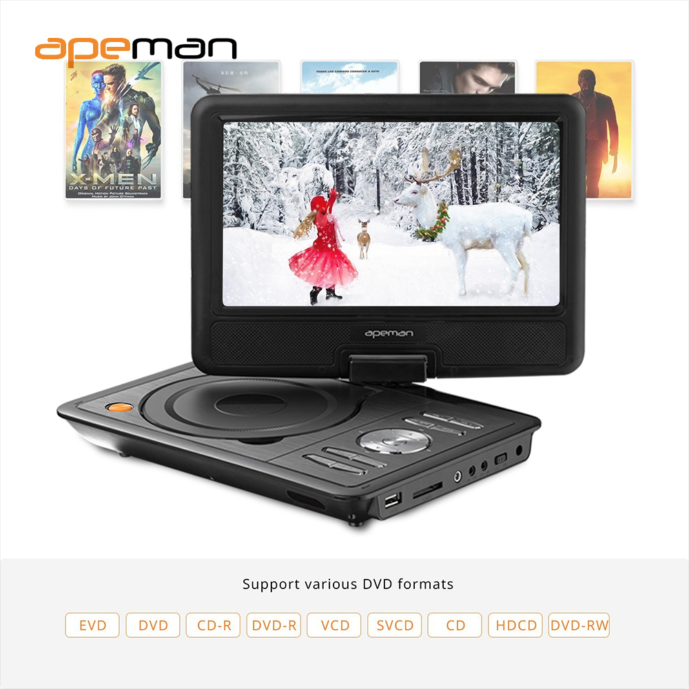 us plug 95 portable dvd player with swivel screen built in battery car charger travel digital for tv kids study entertainment