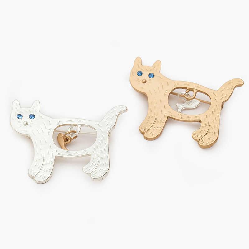 Nueva moda encantador gato dorado/broche de plata gatos comer pescado Japón y Corea del Sur Venta al por mayor pin de cuello