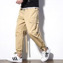 Мужские Джоггеры в западном стиле, повседневные штаны-шаровары в стиле хип-хоп, однотонные повседневные брюки с вышивкой, мужские брюки карго, эластичные