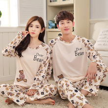 Spring Long Sleeved Couple Pajama Sets Carton Bear Women Pyjama Men Pijamas Cute Nightgrown Female Sleepwear Free Shipping