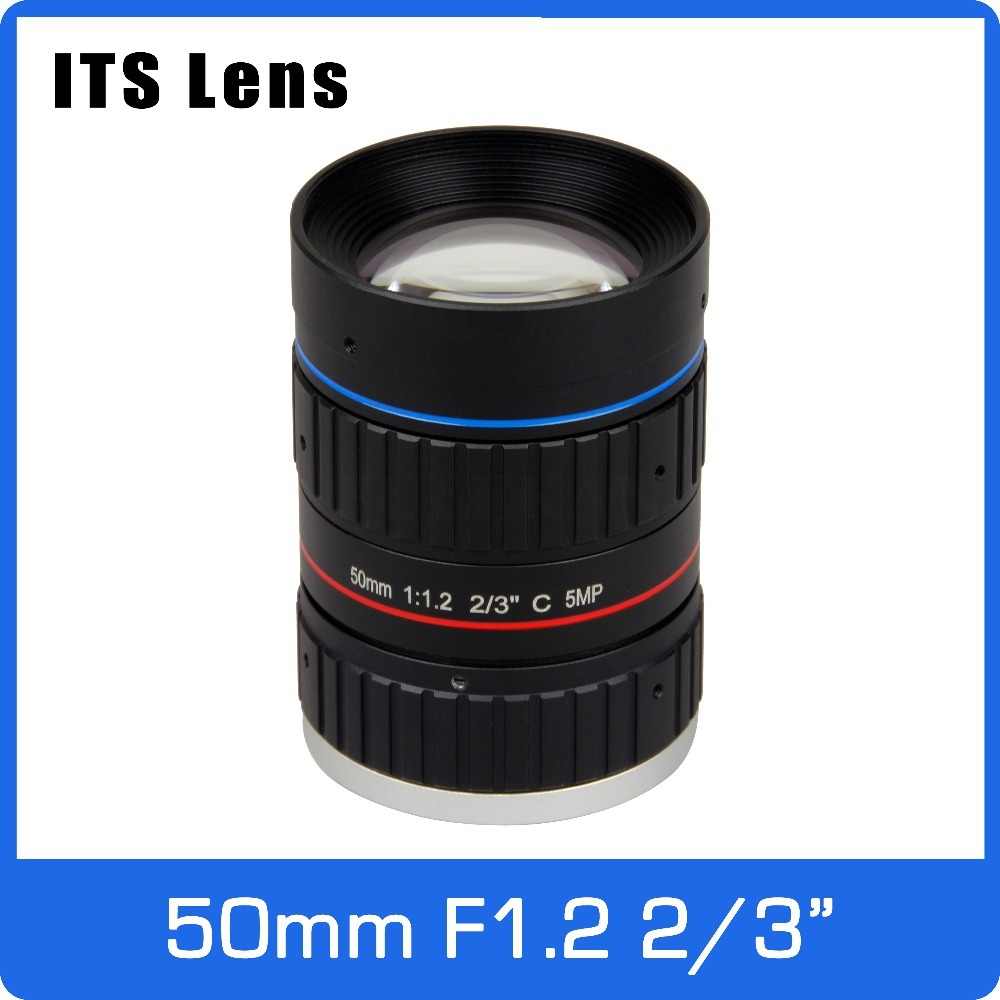 2/3 inch 5MP ITS Lens 50mm  Ultra Starlight F1.2 C Mount For Electronic Police or Traffic Camera