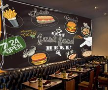 beibehang Custom handpainted pizza burger fried chicken gourmet wallpaper fast food restaurant tea shop personality 3d wallpaper(China)