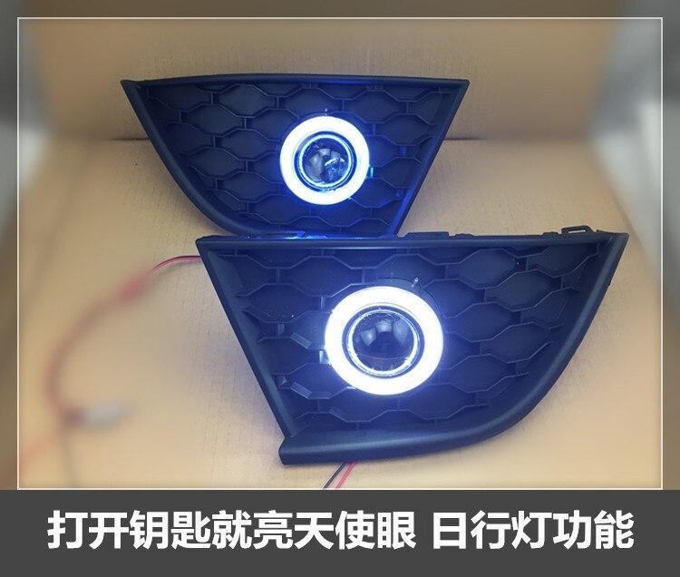 eOsuns COB angel eye led daytime running light DRL + halogen Fog lamp + Projector Lens for MG GT